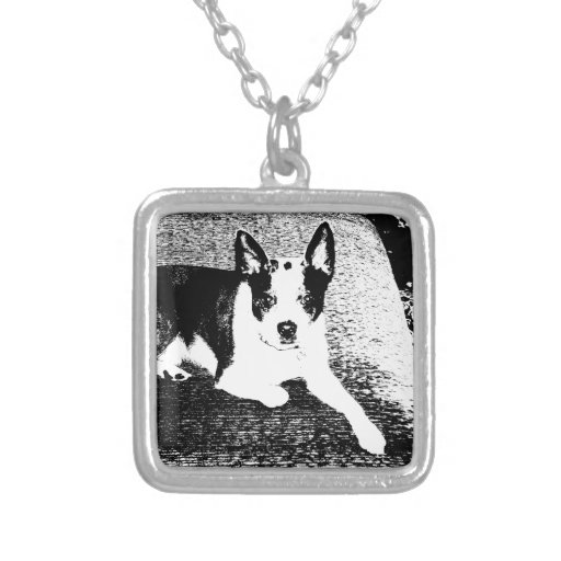 Pen and Ink Dog on Cushion Necklaces