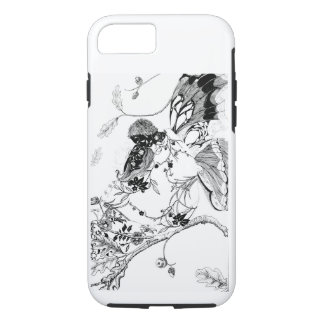 Pen and ink, floral couple with butterfly wings iPhone 8/7 case