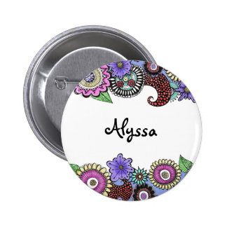 Pen and Ink Flower Trim colorful custom button pin