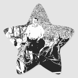 Pen and Ink Horse Drawn Wagon Star Sticker