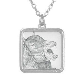 Pen and Ink Horse.png Square Pendant Necklace