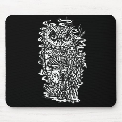 Pen and ink tattoo style owl illustration mousepads