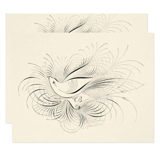 Pen Flourish Vintage Love bird Dove Wedding RSVP