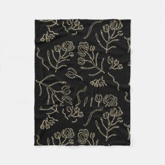Pen Rose Leaf Black Fleece Blanket