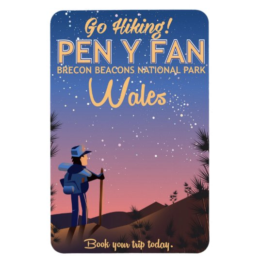 Pen Y Fan Wales hiking travel poster Rectangular