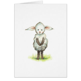 Pencil and watercolor drawing of cute little sheep greeting card