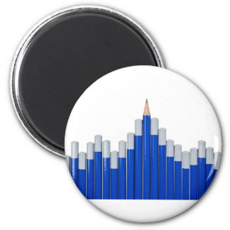 Pencil chart 6 cm round magnet