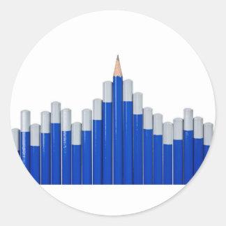 Pencil chart round sticker