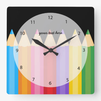 pencil colors * choose your background color square wall clock
