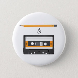Pencil & Compact Cassette 6 Cm Round Badge