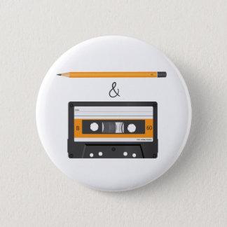 Pencil & Compact Cassette 6 Cm Round Badge