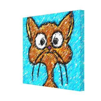 Pencil Crayon Kitty Gallery Wrap Canvas