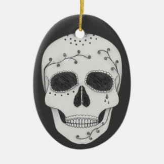 Pencil Drawing Day of the Dead Sugar Skull Christmas Ornament