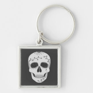 Pencil Drawing Day of the Dead Sugar Skull Silver-Colored Square Key Ring