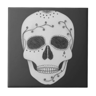 Pencil Drawing Day of the Dead Sugar Skull Tile