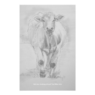 Pencil Drawing of a Cow walking towards you Stationery