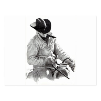 Pencil Drawing of Cowboy in Saddle, Western Art Postcard