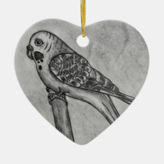 Pencil Drawing of Parakeet Sitting on Stick Perch Christmas Ornament