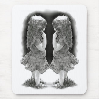 Pencil Drawing of Two Little Girls Face To Face Mouse Pad