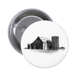 PENCIL DRAWING: OLD BARN, SILO: REALISM 6 CM ROUND BADGE