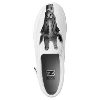 Pencil drawn graphic giraffe Slip-On shoes