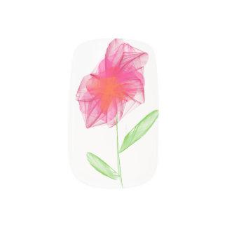 Pencil drawn pink minimalist flower nails stickers