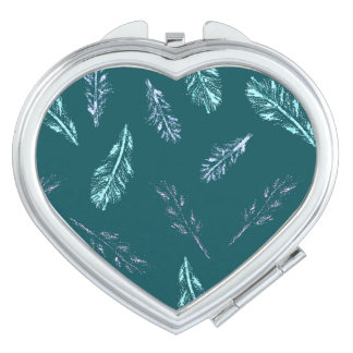 Pencil Feathers Heart Compact Mirror