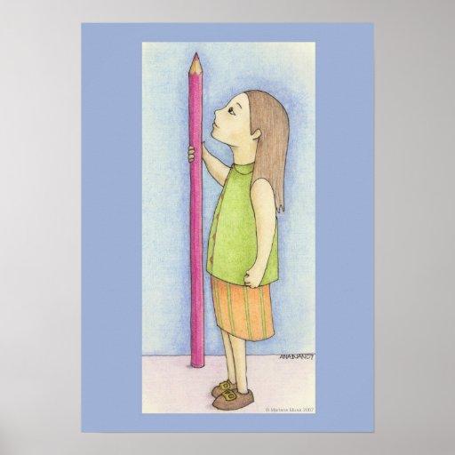 Pencil Girl Poster