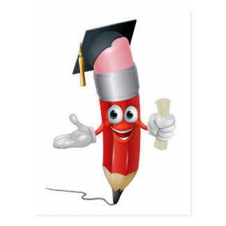 Pencil graduate education concept postcard