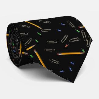 Pencil Paper Clip Push Pin Pattern Tie