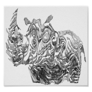 Pencil Rhino Poster