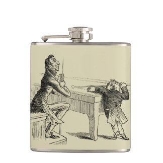 Pencil Sketch of Two Men Playing Pool Hip Flask