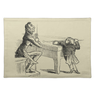 Pencil Sketch of Two Men Playing Pool Placemats