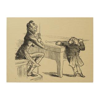 Pencil Sketch of Two Men Playing Pool Wood Print