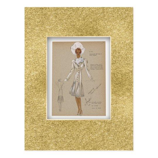 Pencil Slim Coat. 1940s Fashion vintage Postcard