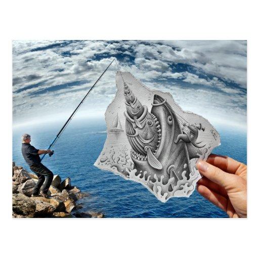 Pencil Vs Camera - Shark Postcards