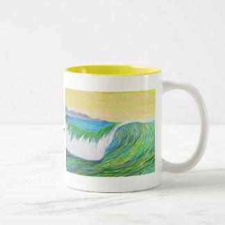 pencil wave Two-Tone mug