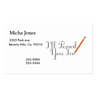 Pencil You In Pack Of Standard Business Cards