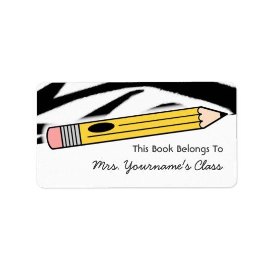 Pencil & Zebra Print School Book Label