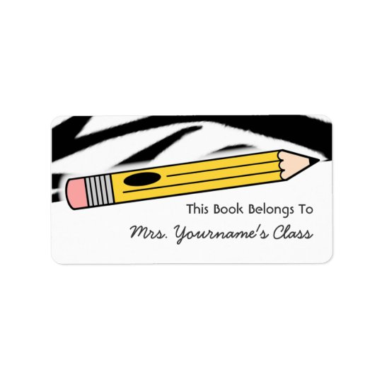 Pencil & Zebra Print School Book Label Address Label