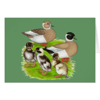 Penciled Call Duck Family Card