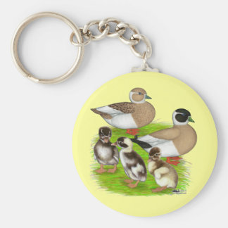 Penciled Call Duck Family Keychains