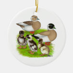 Penciled Call Duck Family Ornaments