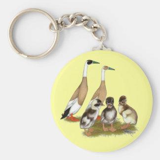 Penciled Runner Duck Family Keychain