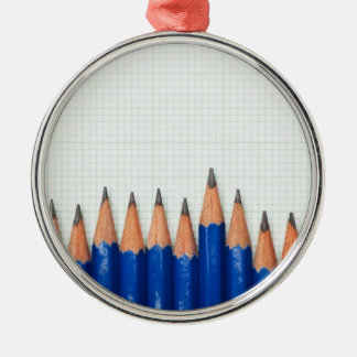 Pencils and graph paper christmas ornament