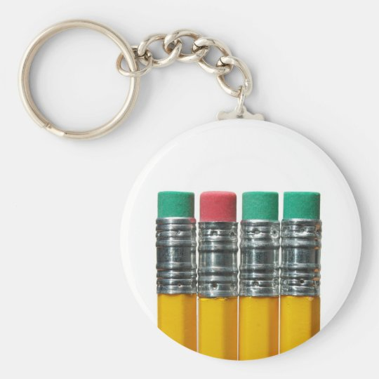 Pencils over white basic round button key ring
