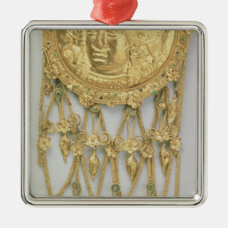 Pendant with the head of Athena Parthenos Silver-Colored Square Decoration