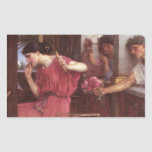 Penelope And The Suitors - John William Waterhouse Rectangular Sticker
