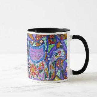 Penelope the Purple Patchwork Cat Mug