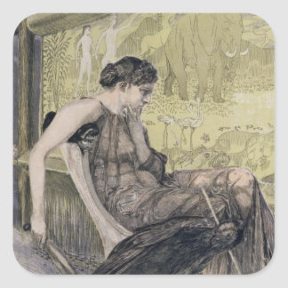 Penelope weaving a shroud for Laertes her father-i Square Sticker